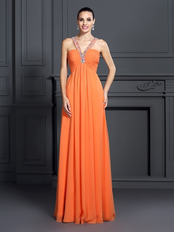 Fashion A-Line Princess Halter Beading Beautiful Long Chiffon Dress