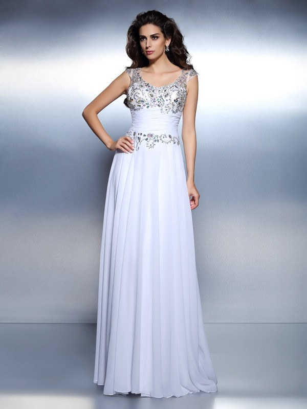 Fashion A-Line Princess Scoop Beading Beautiful Rhinestone Long Chiffon Dress