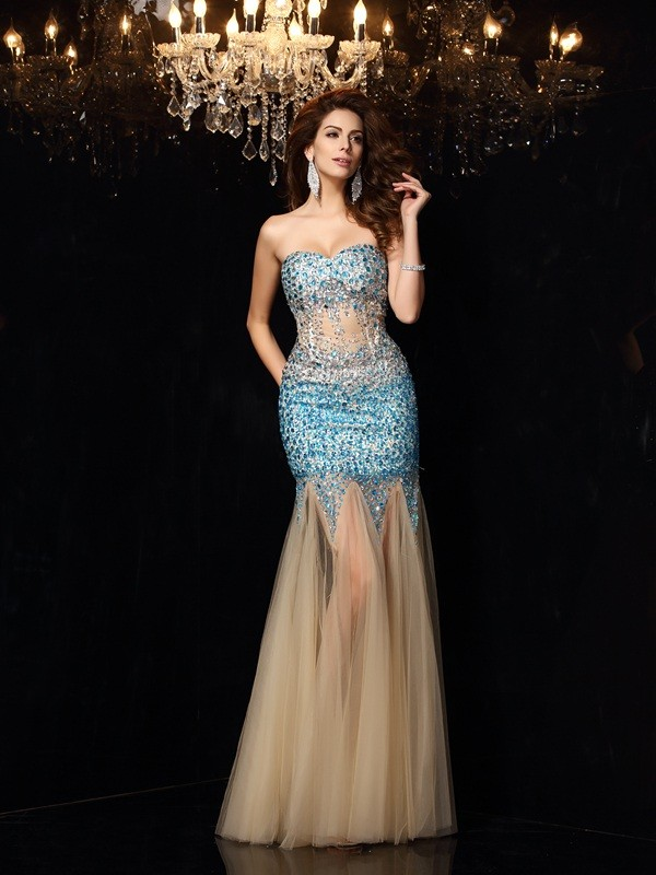 Sheath/Column Sweetheart Beading Beautiful Long Net Dress