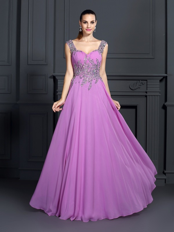 Fashion A-Line Princess Straps Beading Beautiful Long Chiffon Dress