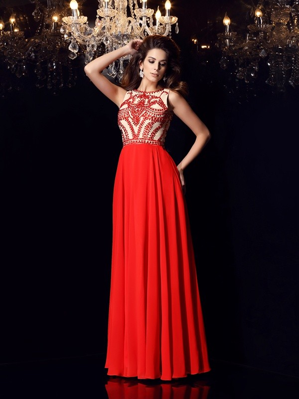 Fashion A-Line Princess Scoop Beading Beautiful Long Chiffon Dress