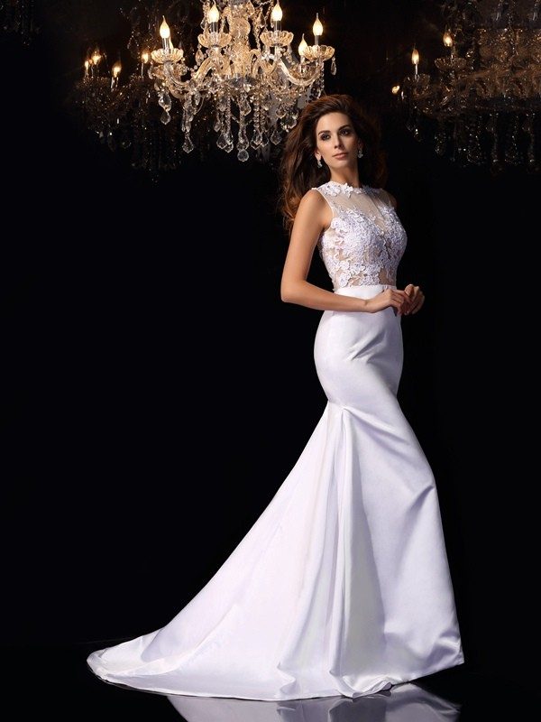 Mermaid High Neck Applique Beautiful Long Satin Wedding Dress