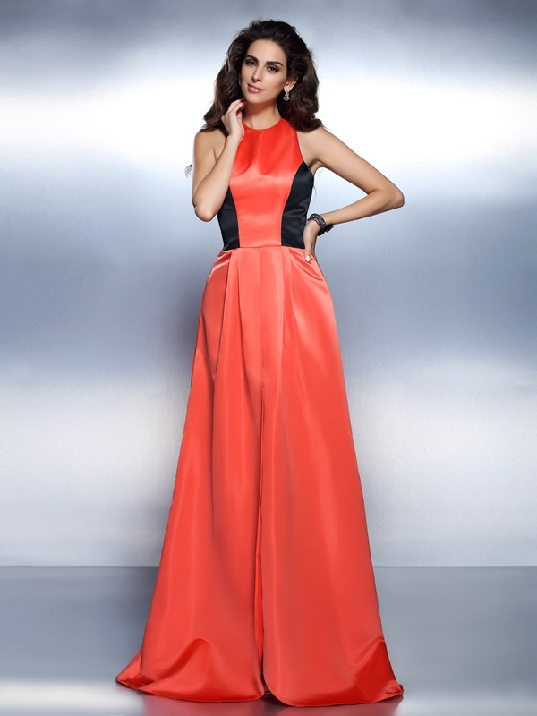Fashion A-Line Princess High Neck Beautiful Long Satin Dress