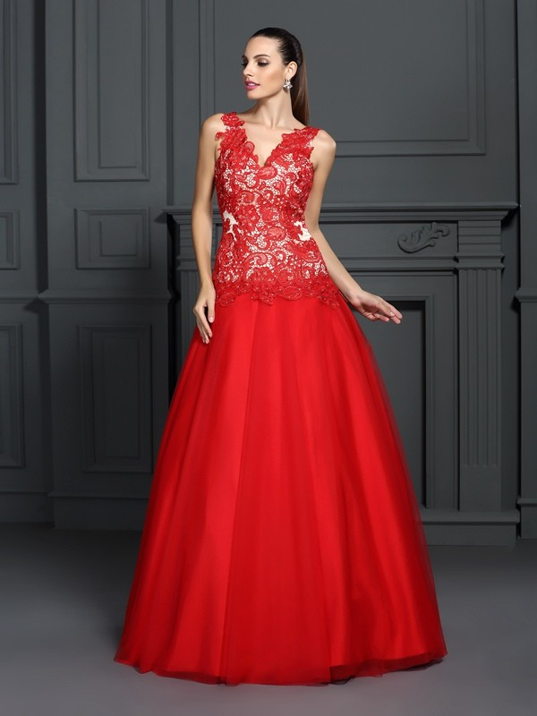 Ball Gown V-neck Lace Beautiful Long Lace Quinceanera Dress