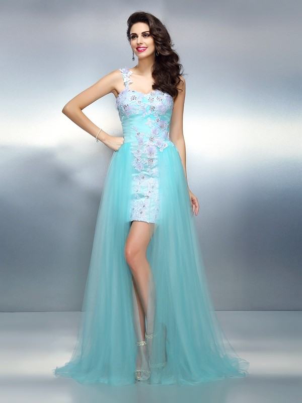 Sheath/Column One-Shoulder Applique Beautiful Long Elastic Woven Satin Dress