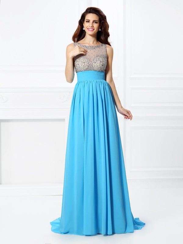 Fashion A-Line Princess Bateau Beading Beautiful Long Chiffon Dress