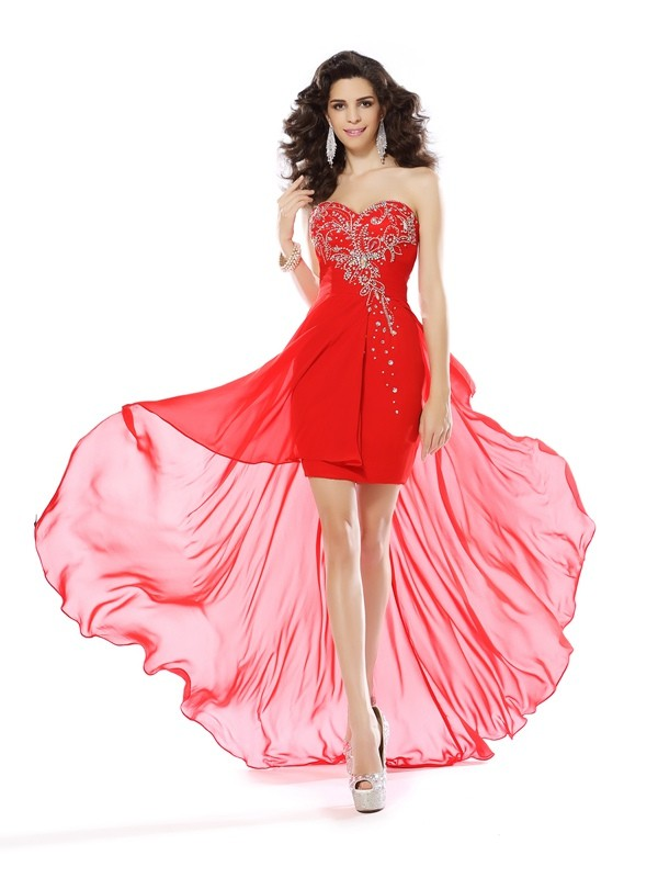 Sheath/Column Sweetheart Beading Beautiful Short Chiffon Cocktail Dress