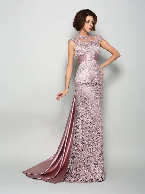 Fashion A-Line Princess High Neck Beautiful Long Elastic Woven Satin Mother of the Bride Dress