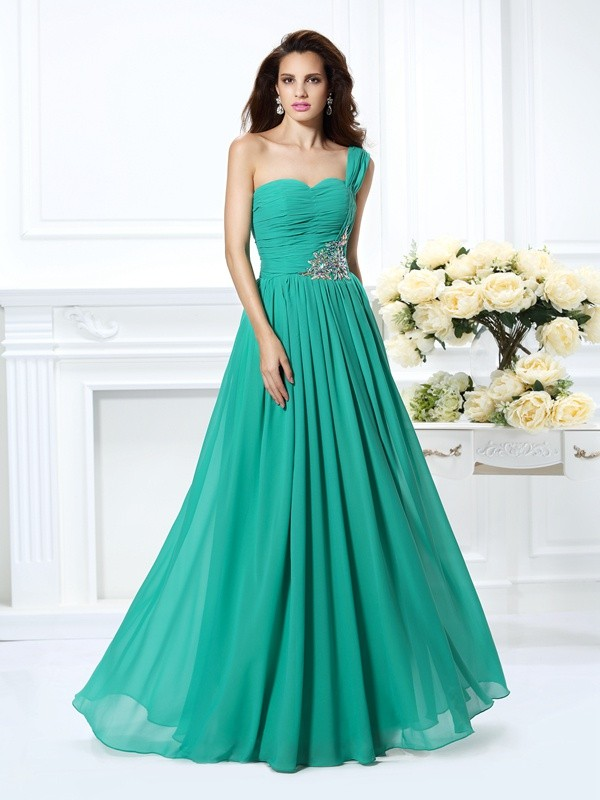 Fashion A-Line Princess One-Shoulder Beading Beautiful Long Chiffon Dress