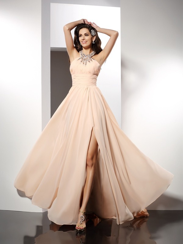 Fashion A-Line Princess Jewel Ruffles Beautiful Long Chiffon Dress