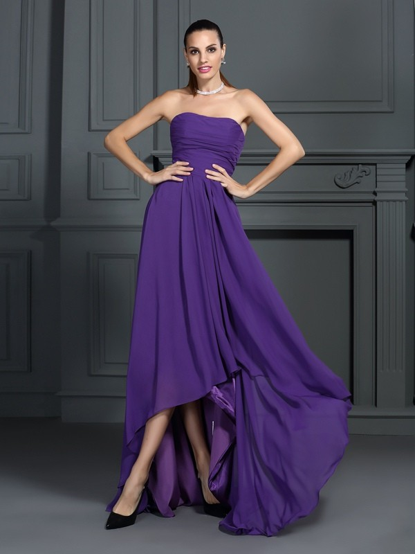 Fashion A-Line Princess Strapless Pleats Beautiful High Low Chiffon Cocktail Dress