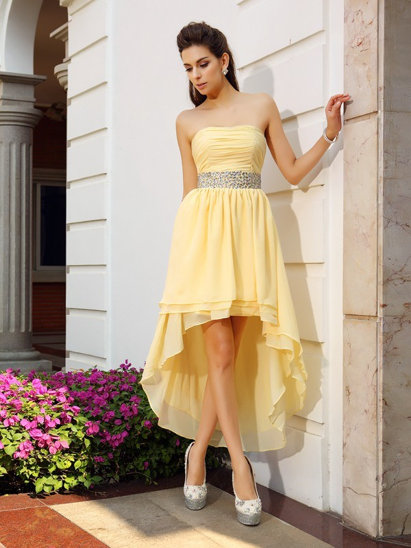 Lovely A-Line Princess Strapless Beading High Low Chiffon Cocktail Dress