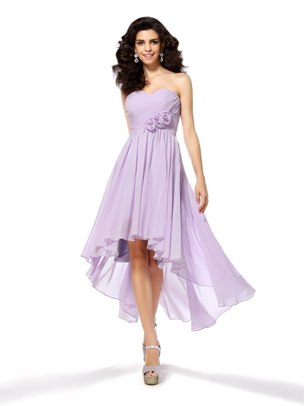 Lovely A-Line Princess Sweetheart Hand-Made Flower High Low Chiffon Cocktail Dress