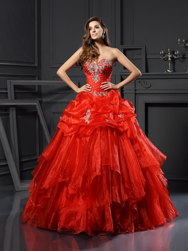Ball Gown Sweetheart Beading Long Tulle Quinceanera Dress