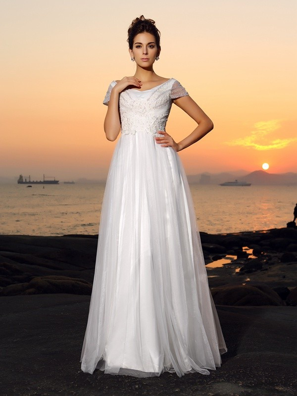 Lovely A-Line Princess Off-the-Shoulder Beading Short Sleeves Long Tulle Beach Wedding Dress