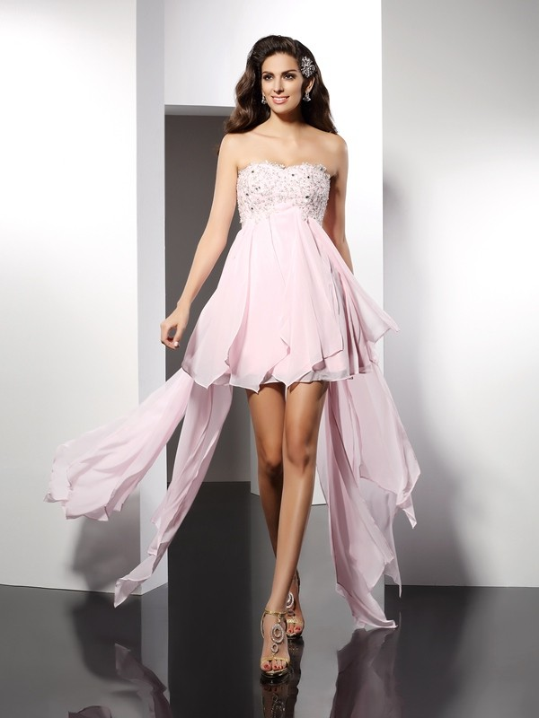Lovely A-Line Princess Sweetheart Applique High Low Chiffon Cocktail Dress