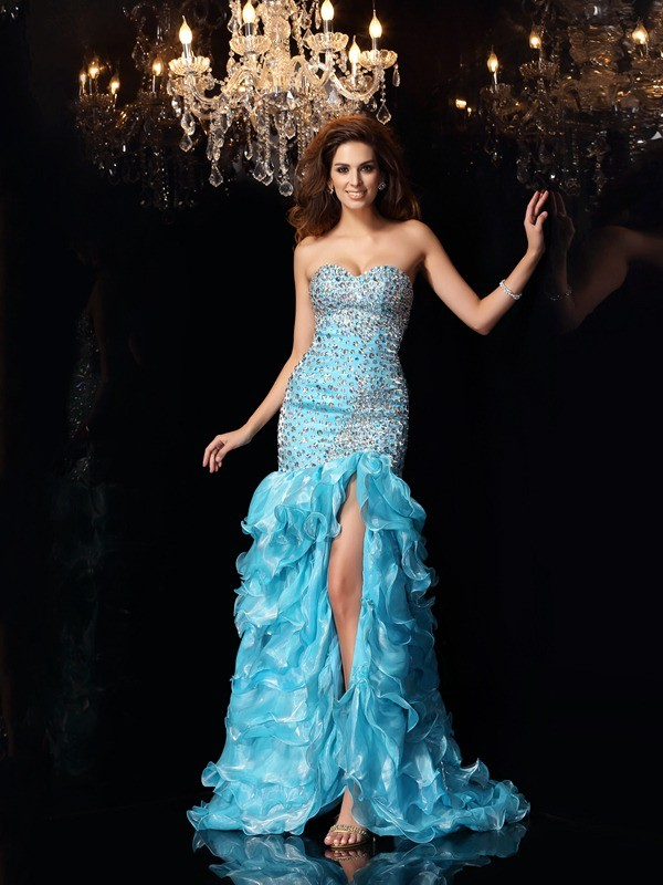 Mermaid Sweetheart Beading High Low Organza Dress