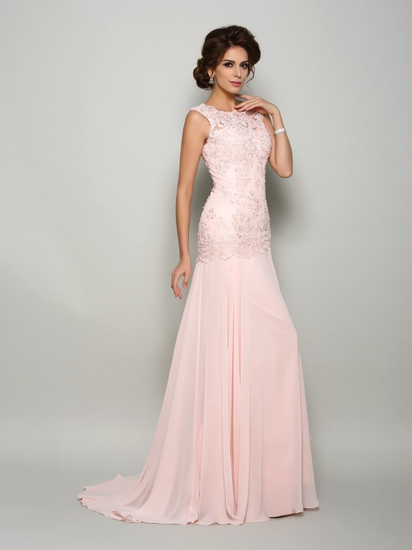 Mermaid Scoop Beading Long Chiffon Mother of the Bride Dress