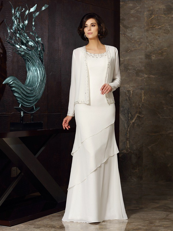 Sheath/Column Scoop Beading Long Chiffon Mother of the Bride Dress