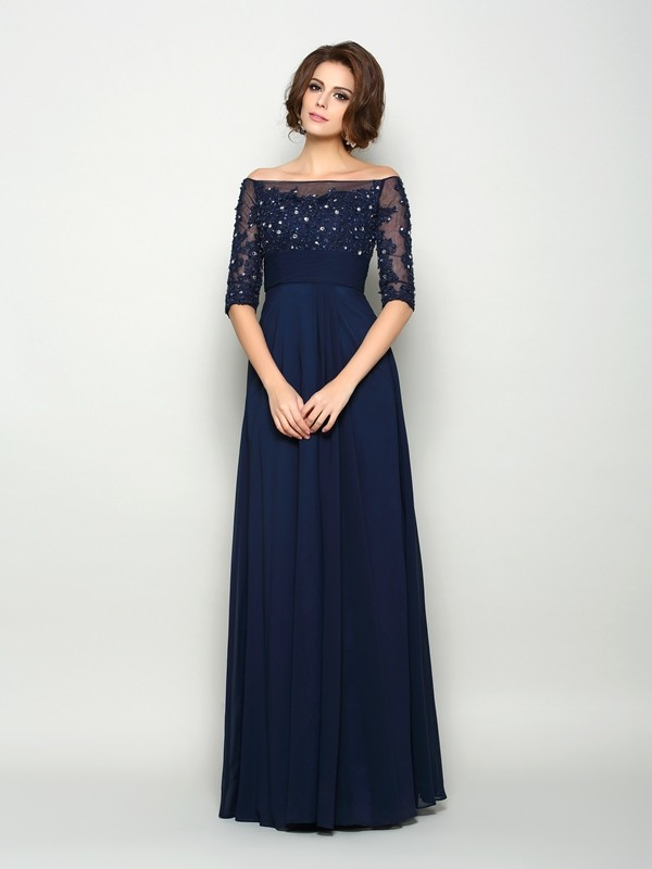 Lovely A-Line Princess Off-the-Shoulder Beading 1/2 Sleeves Long Chiffon Mother of the Bride Dress