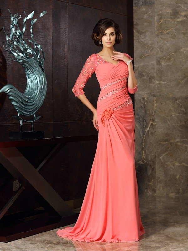 Mermaid Sweetheart 1/2 Sleeves Long Chiffon Mother of the Bride Dress