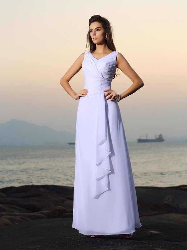 Lovely A-Line Princess V-neck Pleats Long Chiffon Beach Wedding Dress