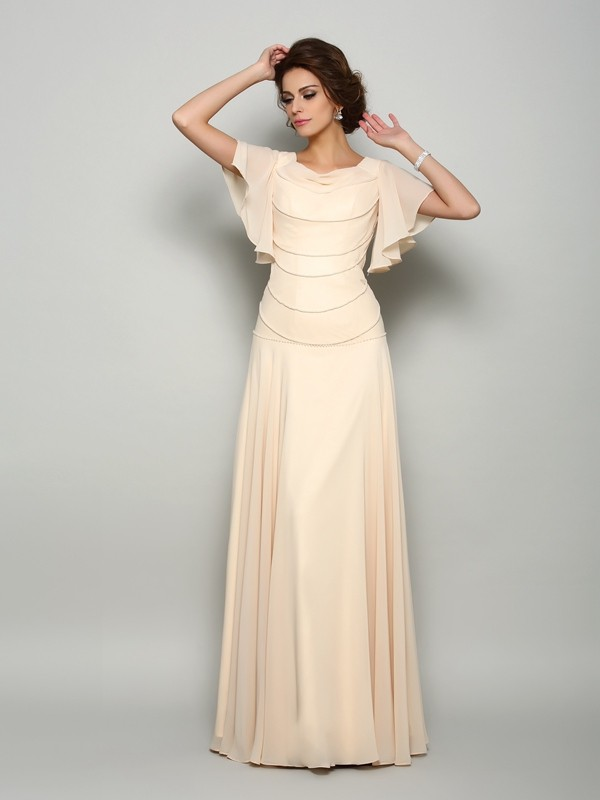 Lovely A-Line Princess Square Beading Short Sleeves Long Chiffon Mother of the Bride Dress