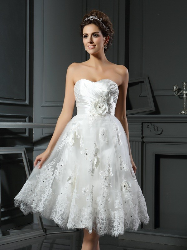 Lovely A-Line Princess Sweetheart Ruched Short Satin Wedding Dress
