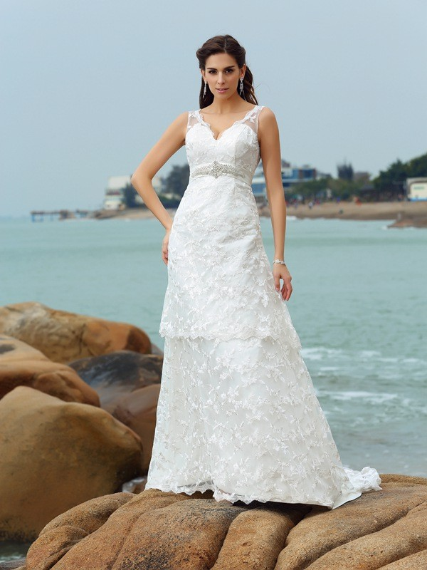 Lovely A-Line Princess Straps Applique Long Satin Beach Wedding Dress