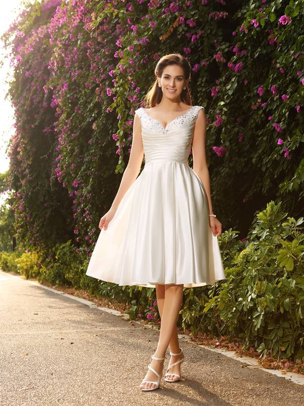 Lovely A-Line Princess V-neck Beading Short Satin Wedding Dress