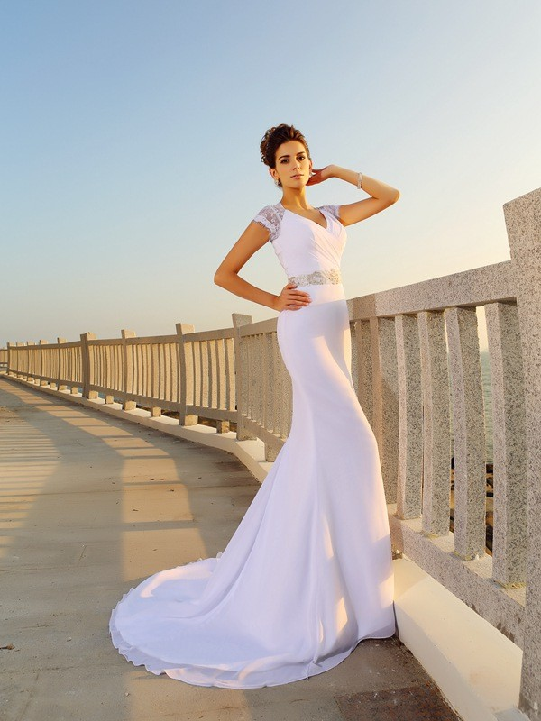 Sheath/Column V-neck Beading Long Chiffon Beach Wedding Dress