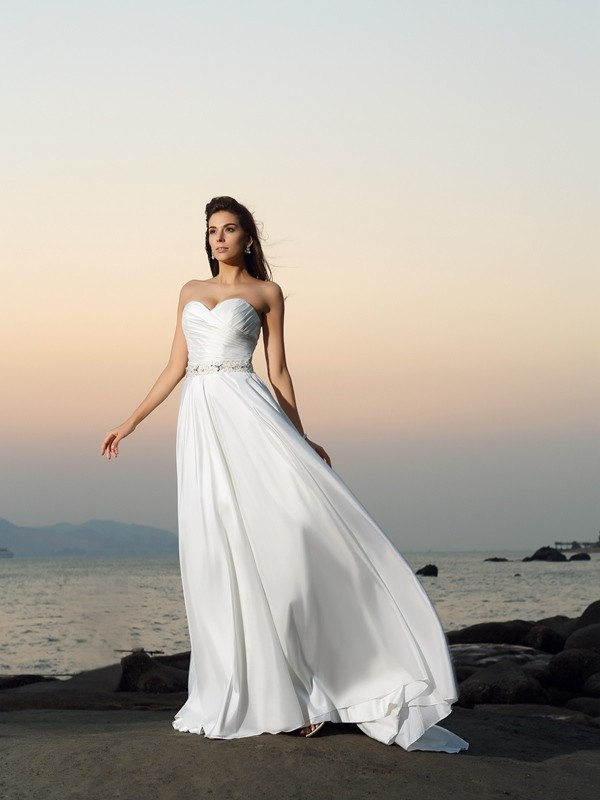 Lovely A-Line Princess Sweetheart Beading Long Taffeta Beach Wedding Dress
