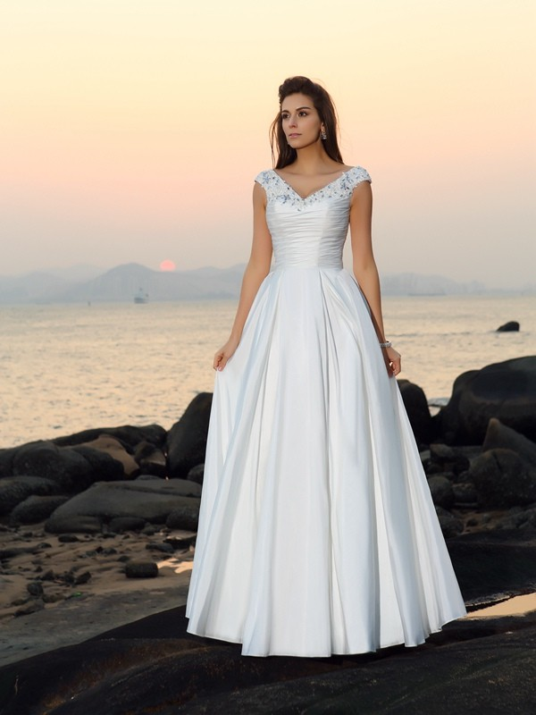 Lovely A-Line Princess V-neck Beading Long Taffeta Beach Wedding Dress