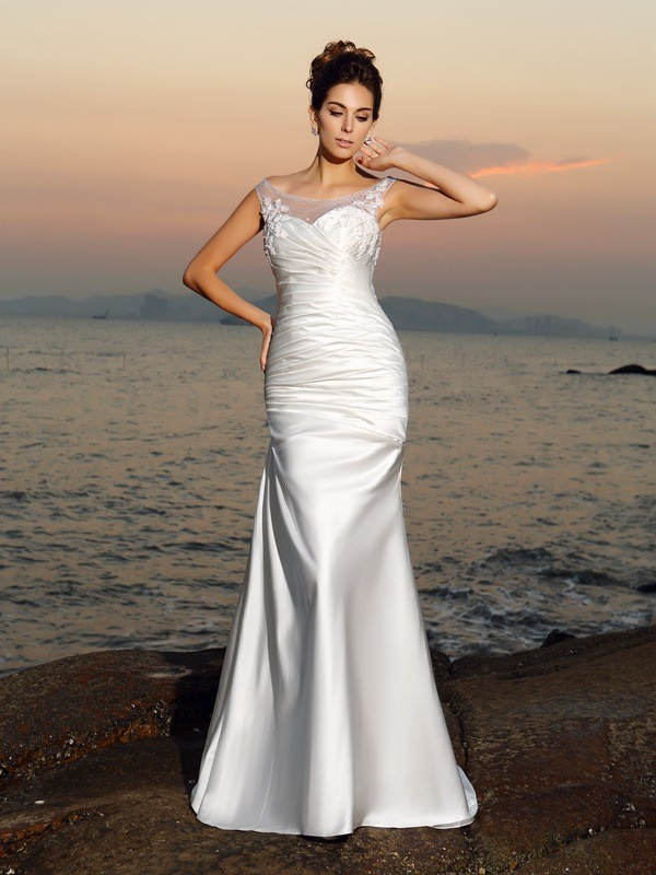 Mermaid Scoop Beading Long Satin Beach Wedding Dress
