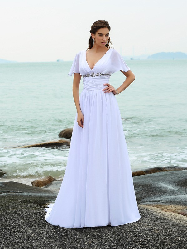 Lovely A-Line Princess V-neck Ruffles Short Sleeves Long Chiffon Beach Wedding Dress