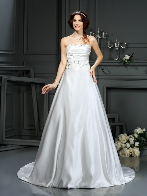 Lovely A-Line Princess Strapless Beading Long Satin Wedding Dress
