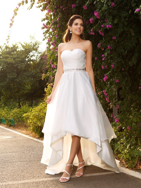 Lovely A-Line Princess Sweetheart Beading High Low Organza Wedding Dress