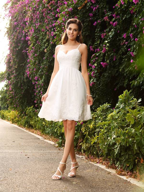 Lovely A-Line Princess Spaghetti Straps Applique Short Lace Wedding Dress