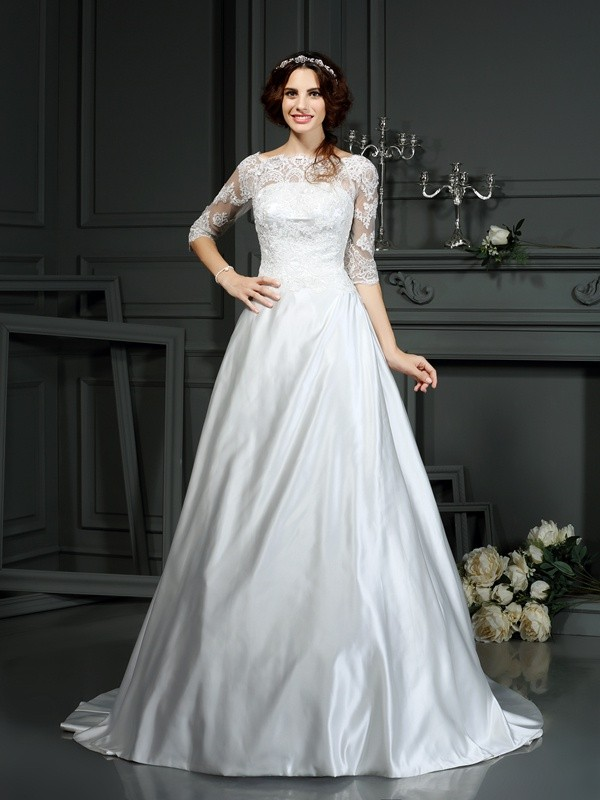 Lovely A-Line Princess Bateau Lace 1/2 Sleeves Long Satin Wedding Dress