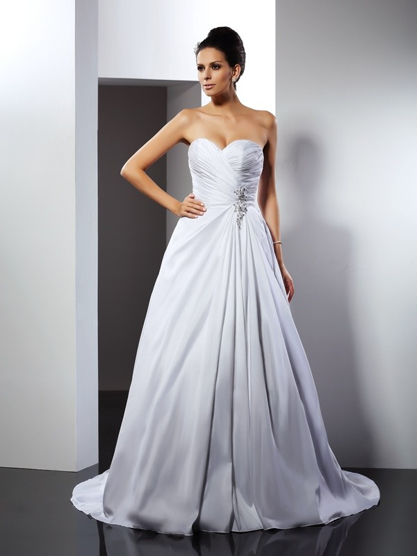 Lovely A-Line Princess Sweetheart Ruffles Long Taffeta Wedding Dress