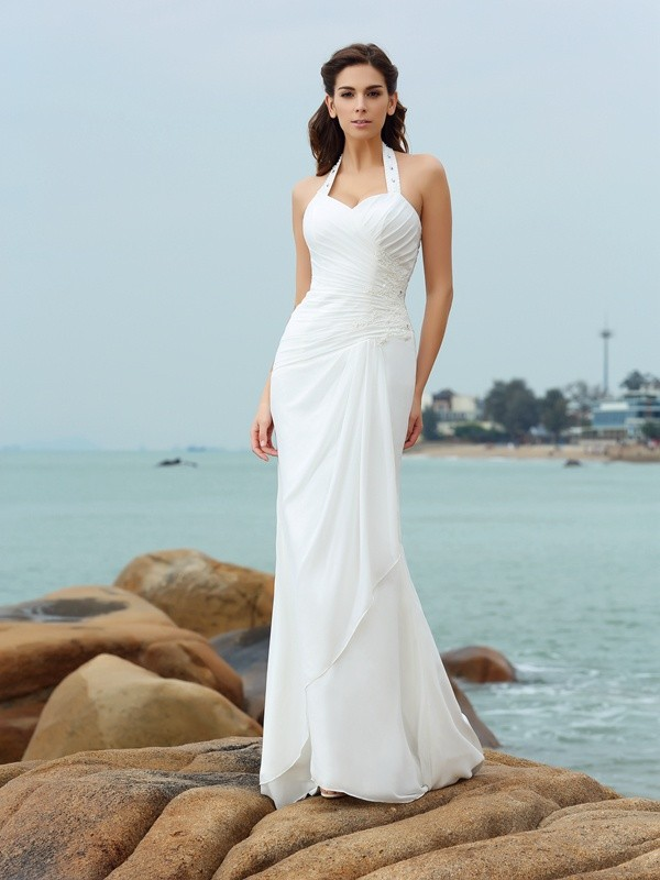 Sheath/Column Long Chiffon Beach Wedding Dress