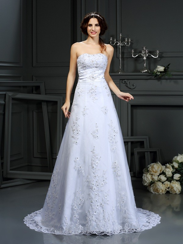 Lovely A-Line Princess Strapless Applique Long Satin Wedding Dress