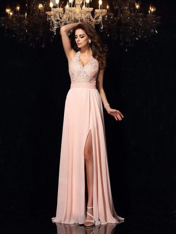 Lovely A-Line Princess Halter Lace Long Chiffon Dress
