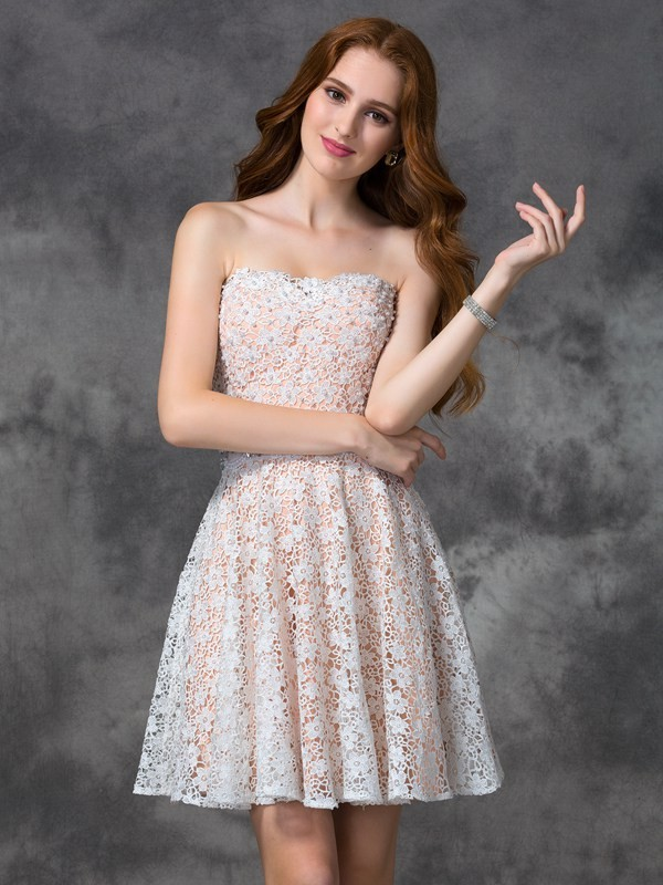 Lovely A-Line Princess Sweetheart Lace Short Lace Cocktail Dress