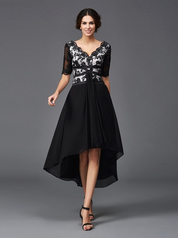 Lovely A-Line Princess V-neck Lace 1/2 Sleeves High Low Chiffon Dress