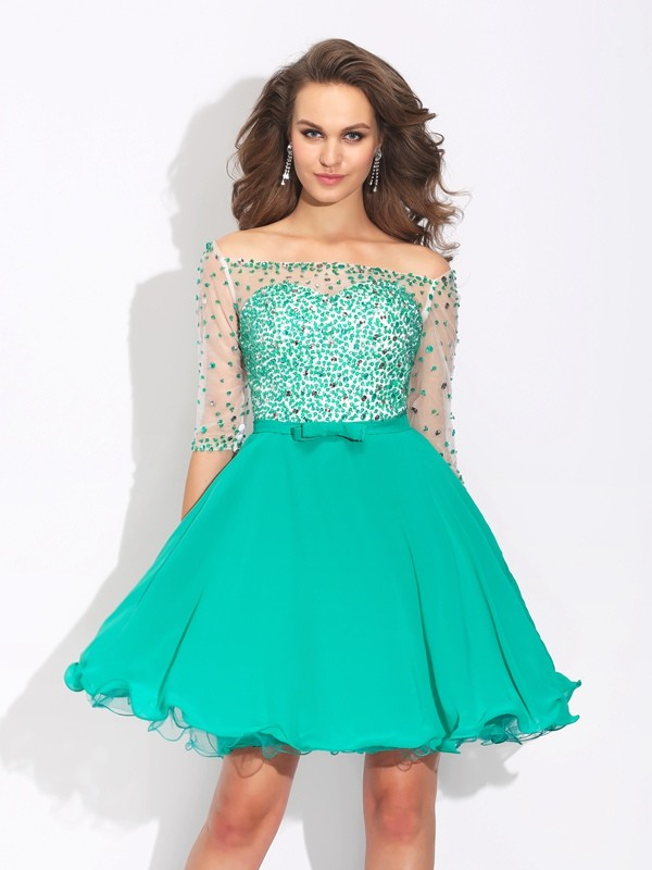 Lovely A-Line Princess Off-the-Shoulder Beading 1/2 Sleeves Short Chiffon Dress
