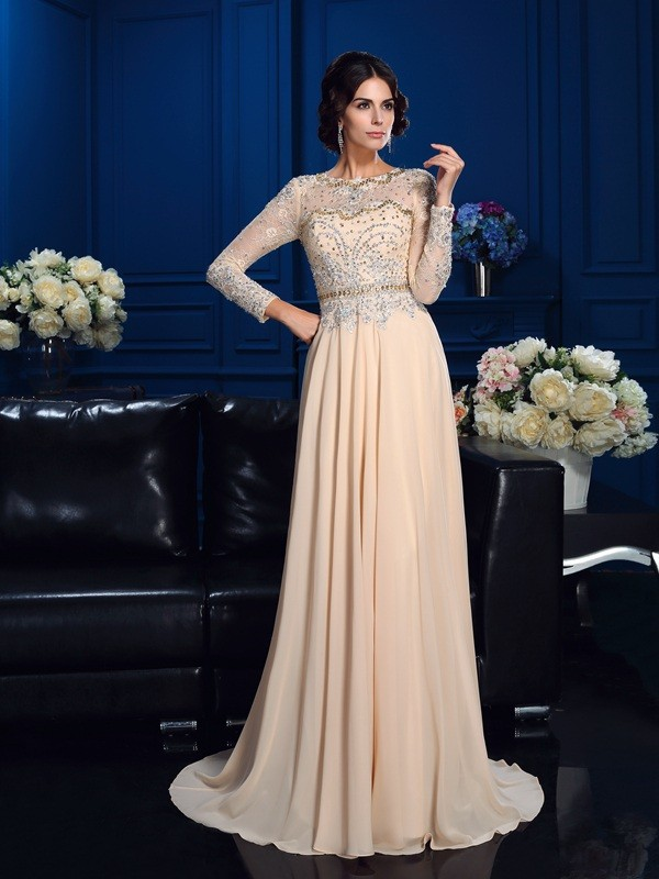 Lovely A-Line Princess Scoop Beading Long Sleeves Long Chiffon Mother of the Bride Dress