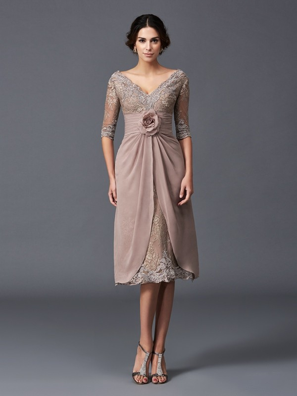 Lovely A-Line Princess V-neck Hand-Made Flower 1/2 Sleeves Short Lace Mother of the Bride Dress