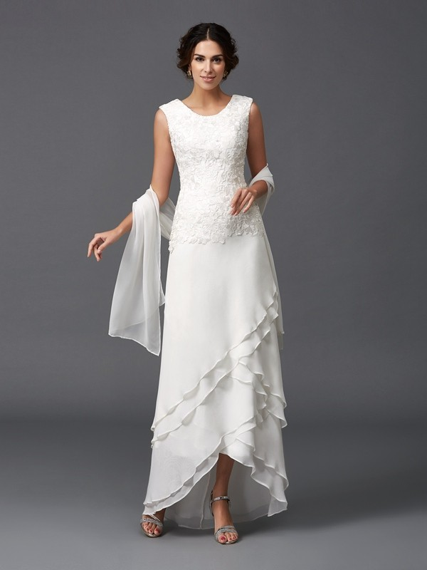 Lovely A-Line Princess Scoop Lace Long Chiffon Mother of the Bride Dress
