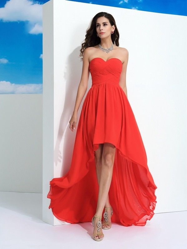 Lovely A-Line Princess Sweetheart Pleats High Low Chiffon Dress